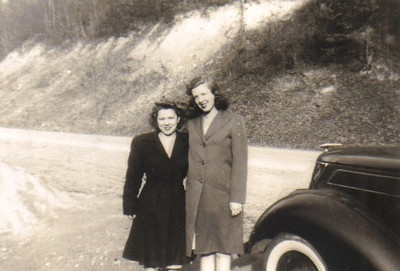 Eva Mae Pugh, right, and her sister-in-law Sylvie Reynolds in the late 1940s.