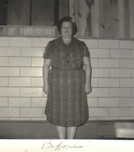 """Eva Mae Pugh kept a """"before"""" photo of herself taken on Feb. 20, 1964, when she started the TOPS (Take Off Pounds Sensibly) program, to remind herself of when she weighed 268½ pounds and wore a size 30½ dress. She ended up losing more than 100 pounds."""