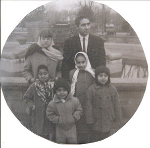 Pete Flores, top right, with five of his chidren: Esperanza, top left; Maria Luisa in front of her, Jose with his hands in his pockets, Antonia in front of Pete and Martin. (Photo courtesy of the family.)