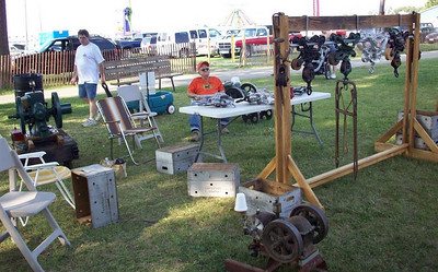 Frannie Grim was ready to answer questions about the antique tools he displayed at the 2009 Medina County Fair.