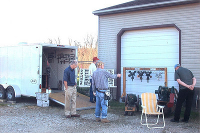 Frannie Grim shows his tool collection at a gathering at his home in Chatham Township in November 2009.
