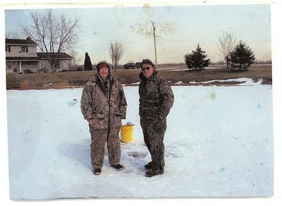 Joe Smith and Frannie Grim, ice fishing.