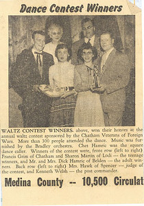 This newspaper clipping shows Frannie Grim, left, with fellow winners and the judge of a waltz contest.