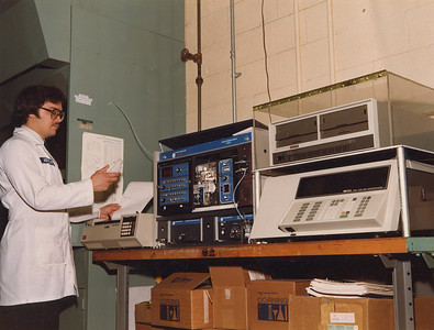 """Wilfredo """"Fred"""" Morales, pictured at NASA Lewis Research Center in 1983, became an expert on aerospace lubricants and tribology, the study of the interaction of sliding surfaces. (NASA photo courtesy of the family.)"""