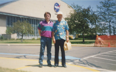 Fred Morales and his father, Antonio Gonzalez, outside the NASA Lewis Research Center in the 1980s. (Photo courtesy of the family.)