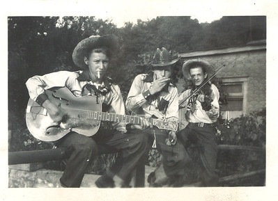 A trio of cowboy musicians, possibly from the T. Texas Tyler band, who performed with Geneva Willis in the 1930s or 1940s. (Photo courtesy of the family.)