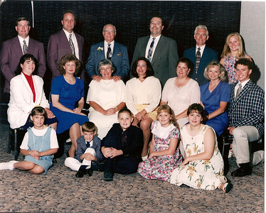 George and Bobbie Hoover celebrate their 50th wedding anniversary in 1996 with their five children, seven grandchildren and various in-laws. (Photo courtesy of the family.)