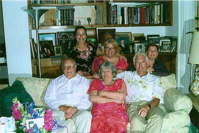 Hoover family in recent years. Seated from the left: George, Bobbie and Doug. Behind them: Candace, Andrea and Robin. (Photo courtesy of the family.)