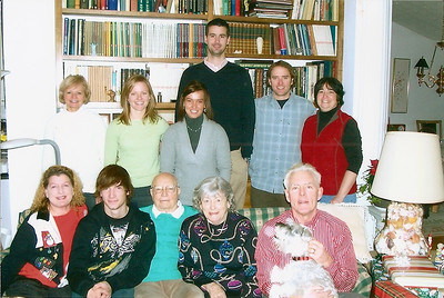 George Hoover, seated, center, celebrating Christmas with his family. (Photo courtesy of the family.)