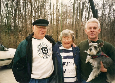 George and Bobbie Hoover with their son, Doug, and Doug's dog, Otis, in Oberlin. (Photo courtesy of the family.)