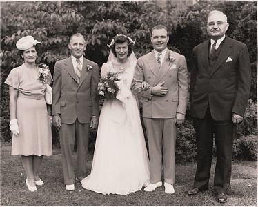 The Hoovers' wedding day, July 5, 1946, in Grove City, Pa. From the left: Florence and Milo Horam, their daughter, Bobbie, George and George's father, Hamilton Faustin Hoover. (Photo courtesy of the family.)