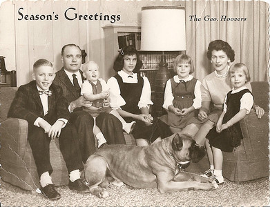 Hoover family portrait 1960, from the left: Doug, George with Brett on his lap, Candace, Andrea, Bobbie and Robin. At their feet: Duke. (Photo courtesy of the family.)