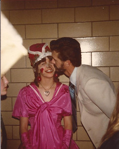 Harris Opfer congratulates his daughter, Christine, on her performance as the Queen of Hearts. (Photo courtesy of the family.)