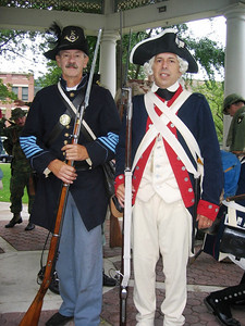 Harris Opfer, left, wearing a Civil War era uniform appears to have time-travelled to meet George Washington, a.k.a. Craig Sutorius. The pair actually were at Ely Park in Elyria for the dedication of war monuments. (Photo courtesy of Craig Sutorius.)