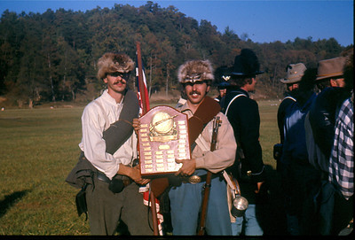 Harris Opfer, left, and Craig Sutorius, right, hold the N-SSA's 50th National Championship Trophy at Winchester, Wva. (Photo courtesy of Craig Sutorius.)