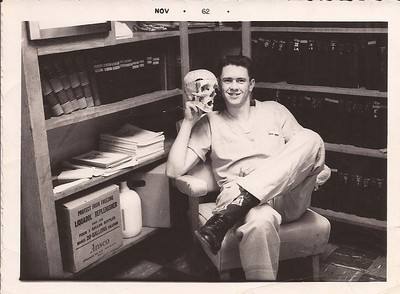 Harris Opfer poses with a skull in 1962, when he attended Elyria Memorial Hospital's School of X-Ray Technology. (Photo courtesy of the family.)
