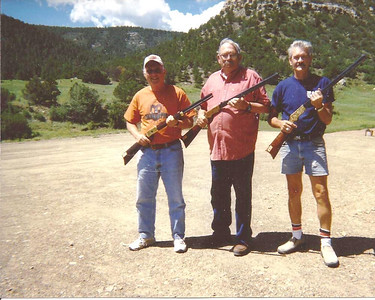 Harris Opfer, right, and his buddies, Jim Treherne, left, and Doc Cahill, center, at the National Rifle Association's Whittier Center firing ranges at Raton, New Mexico. (Photo courtesy of the family.)