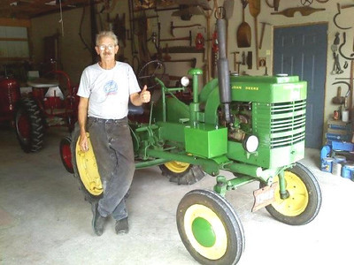 Harris Opfer refurbished old beat-up and often nonworking John Deere tractors like this 1946 model. (Photo courtesy of the family.)