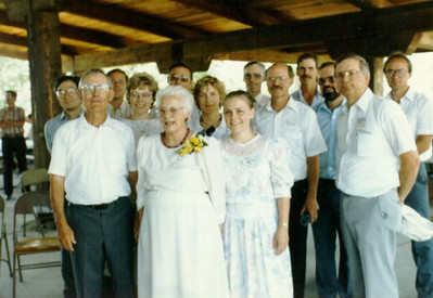 Henry and Dot Schriver, in the foreground, celebrated their 50th wedding anniversary in 1958 with all their children. (Photo courtesy of the family.)