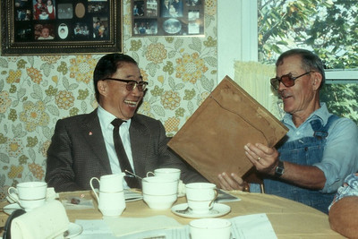 Bill Chang, left, who stayed at the Schriver house as a teenager, became the secretary of agriculture and secretary of finance in Taiwan, according to Henry's son Don. In the early 1980s, Chang visited reunited with Henry and invited him talk with government officials and youth groups in Taiwan and conduct workshops for farmers.(Photo courtesy of the family.)