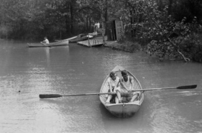 """The Schriver children call this photo of their not-yet-married parents taken at Ohio State 4-H camp in 1936 or '37 """"The Love Boat.""""(Photo courtesy of the family.)"""
