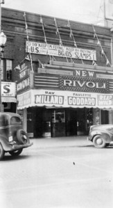 "Courtesy of The Lorain County Historical Society: This photo of the Rivoli, taken during the run of ""Reap the Wild Wind,"" probably predates Herman Frankel's ownership of the theater. The movie was released in 1943, and a banner above the marquee promotes what are likely war bonds for World War II."