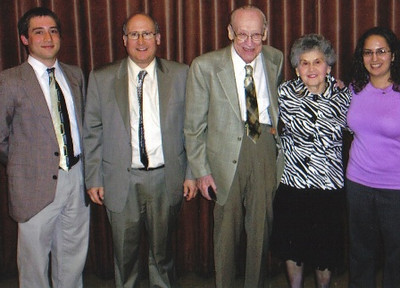 Herman Frankel and family in 2009: From left, grandson,David, son, Kenneth, Herman himself, his wife, Aileen, and granddaughter,Tamara.