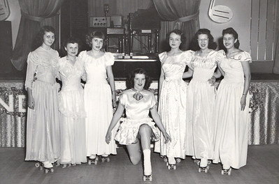 Jeanne Doyle, center, performed at a Rollercade show with this ensemble around 1950. (Photo courtesy of the family.)