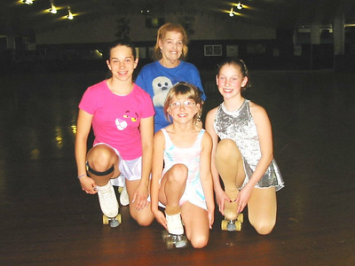 Jeanne Krenek coached these three skaters for championship competition. (Photo courtesy of the family.)