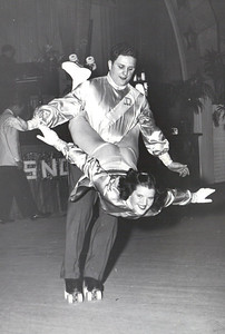 Jeanne Doyle and her skating partner Bob Dancik do some acrobatic moves in the late 1940s. (Photo courtesy of the family.)