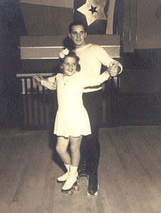 Jeanne Doyle skates with her teacher Joe Schneider around 1940. (Photo courtesy of the family.)