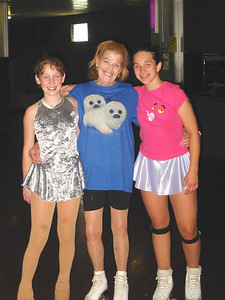 Jeanne Krenek is flanked by two of her successful skating students. (Photo courtesy of the family.)