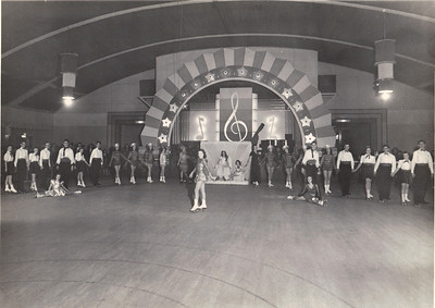 Jeanne Doyle takes center rink at a major skating show in the 1940s. (Photo courtesy of the family.)