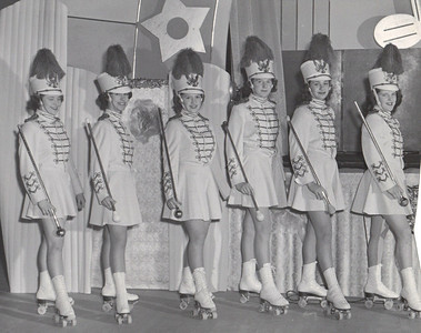 Jeanne Doyle, far right, performed with the Rollerettes, a baton-twirling roller skating group, around 1950. (Photo courtesy of the family.)