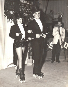 "Jeanne Doyle and her longtime dance partner Bob Dancik did a ""top hat"" routine at a Cleveland Rollercade show in 1948. (Photo courtesy of the family.)"
