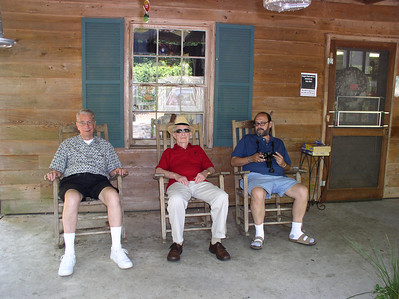 Jim White (left), his cousin Fred Schick (center) and his niece's husband, John Brady (right), rock at a family reunion at Kiawah Island, S.C., in 2006. (Photo courtesy of the family.)