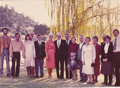 """A dark-haired Jim White, center, at a family gathering in Sedona, Ariz., for Thanksgiving 1981. His brother, John """"Bob,"""" is fourth from the left. Brother Dick is seventh from the left. His brother, Bill, is third from the right. His brother, Charles, died in 1966. All the brothers are gone now. (Photo courtesy of the family.)"""