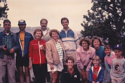 "Jim White, far left, wearing his ""murderer's jacket"" at a family reunion with his Schick family cousins at the Grand Canyon in 1989. (Read his ""Dash"" for explanation.) (Photo courtesy of the family.)"