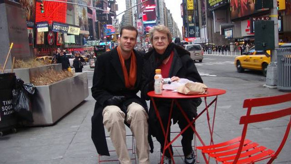 Joan Park and her son Jeff take a break on Times Square in New York City. (Photo courtesy of the Park family.)