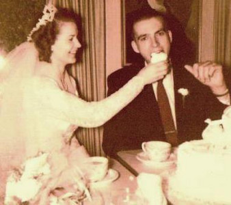Joan Park, a.k.a. The Bride, politely shares a piece of wedding cake with Jim Park, a.k.a. The Groom, when they were married on Sept. 5, 1953. (Photo courtesy of the Park family.)
