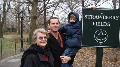 Joan Park, her son Jeff and his son Rowan visit Strawberry Fields in New York City. (Photo courtesy of the Park family.)
