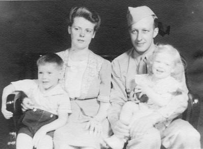 Eastin family portrait, July 1945: From left, Skip, Lenore, Bill and Annette.
