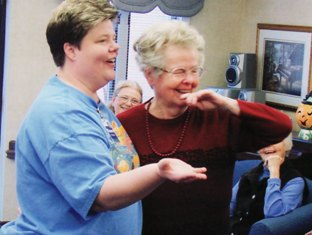 Dawn Prokop, life enrichment coordinator at Wesleyan Village in Elyria, tells Lenore Wayman she's about to get her Second Wind Dream in 2007.