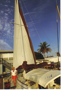 Evelyn Riggs on her sailboat in Florida in 1986.