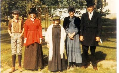 Sonny Baker and family in costume for Seville Sesquicentennial.