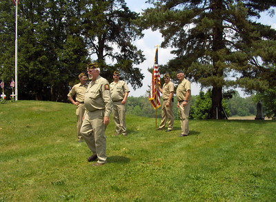 Sonny Baker and the Veterans Honor Guard at Mound Hill Cemetery after marching in the Seville Memorial Day parade and participating after the gun salute at Mound Hill Cemetery.