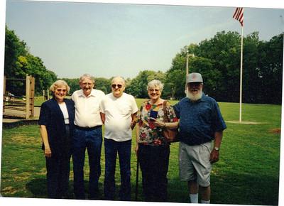 Baker siblings - Carol Jarvis, Duane Baker, Gene Baker, Martha Edwards and Sonny Baker - at a family reunion.