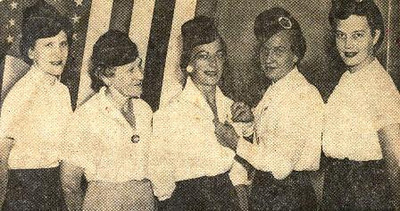 Mae Dillworth, center, a past president of the Summit County Polish Legion of American Veterans Auxiliary, is honored along with other past presidents by fellow members of the organization. From the left are Mabel Vrabel, Anna Stanley, Mae Dillworth, Stella Brunner and Irene Simmons.