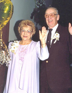Mae and Verne Dillworth celebrate their 50th wedding anniversary in 1992. They were married 67 years at the time of Mae's death.