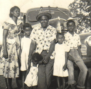 The Edwards family moved from Demopolis, Ala., to Oberlin in the 1960s. Pictured here in the 1950s in Alabama are, left to right, mother Carrie, daughter Dorothy, father Ezekiel holding onto son Enoch, daughter Maggie and son J.C. (Julius Cesar).